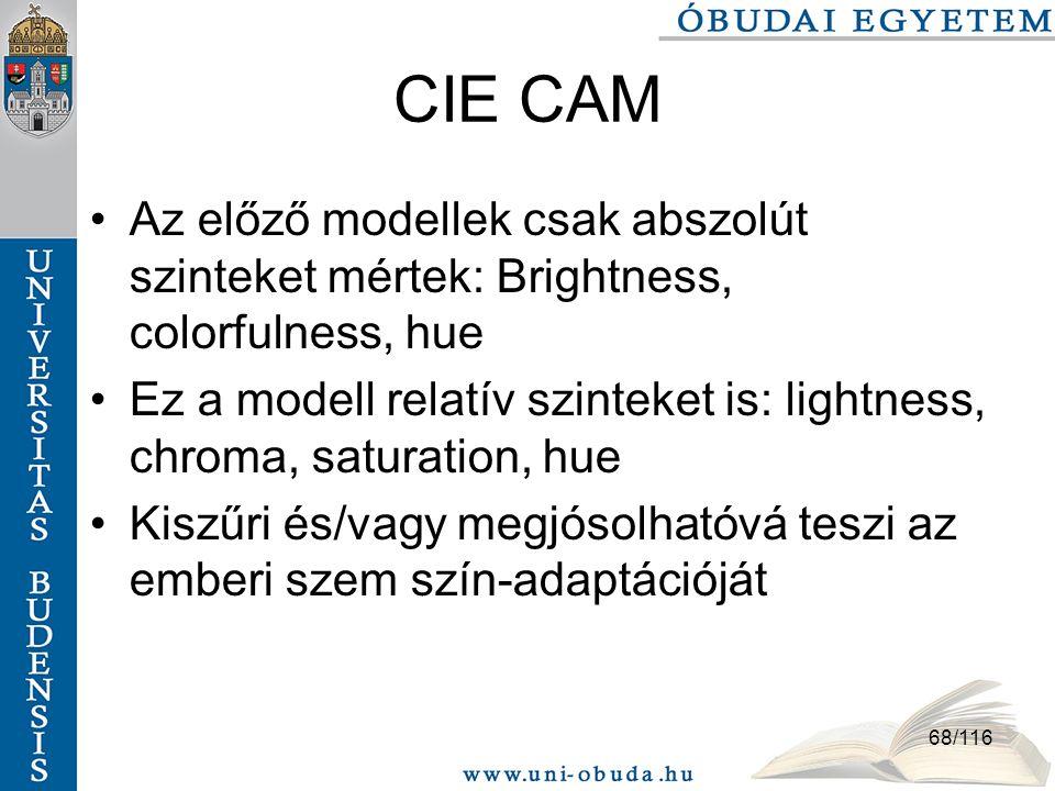 CIE CAM Az előző modellek csak abszolút szinteket mértek: Brightness, colorfulness, hue.