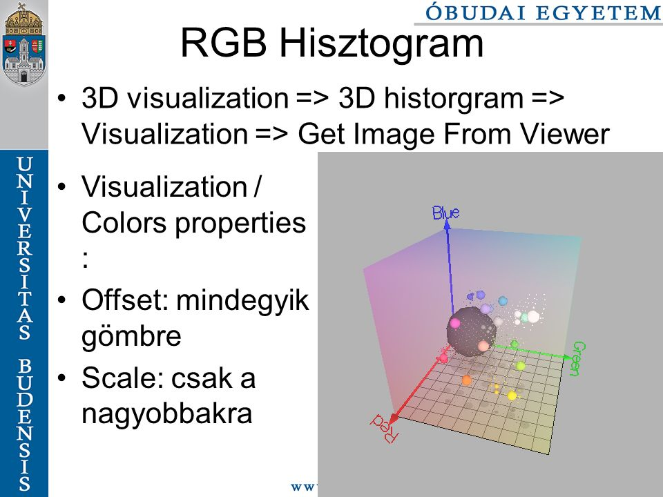 RGB Hisztogram 3D visualization => 3D historgram => Visualization => Get Image From Viewer. Visualization / Colors properties :