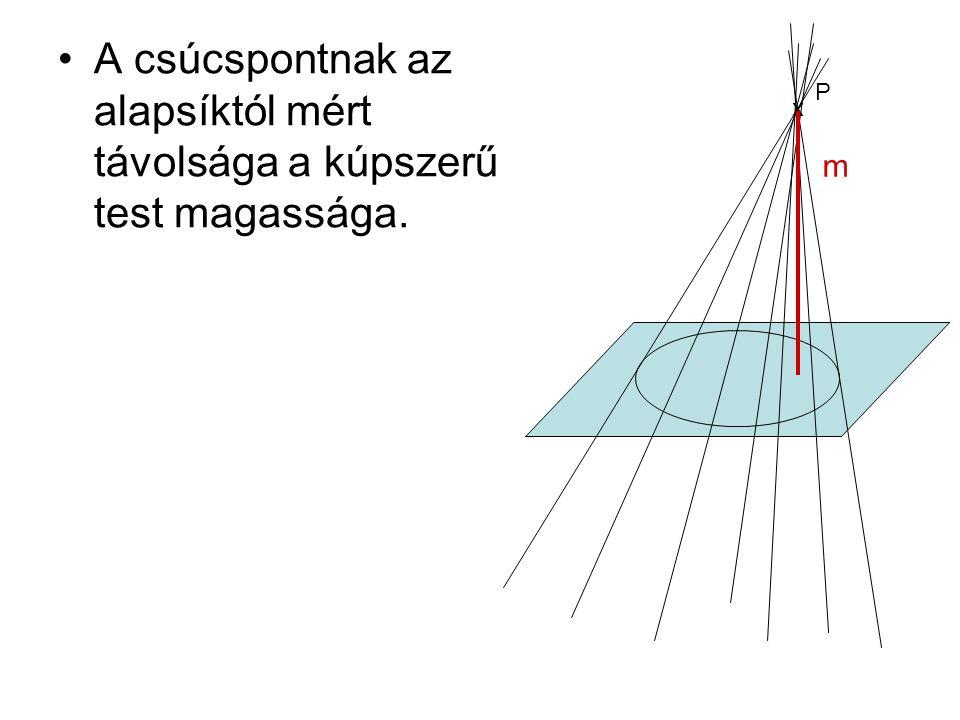 A csúcspontnak az alapsíktól mért távolsága a kúpszerű test magassága.