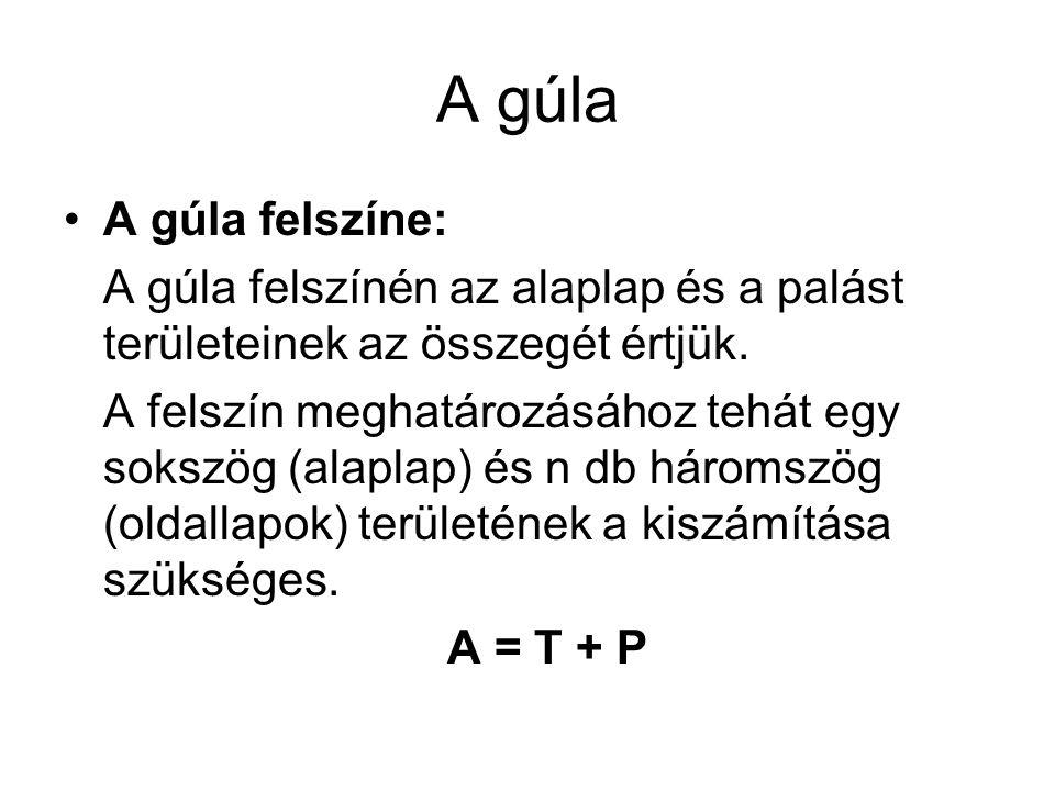 A gúla A gúla felszíne: A gúla felszínén az alaplap és a palást területeinek az összegét értjük.