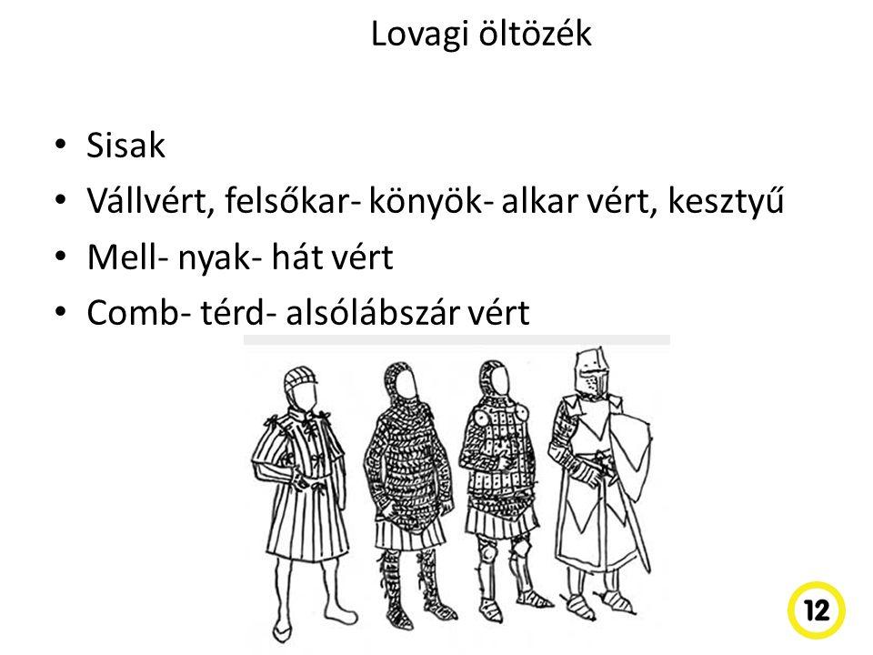 Lovagi öltözék Sisak. Vállvért, felsőkar- könyök- alkar vért, kesztyű.