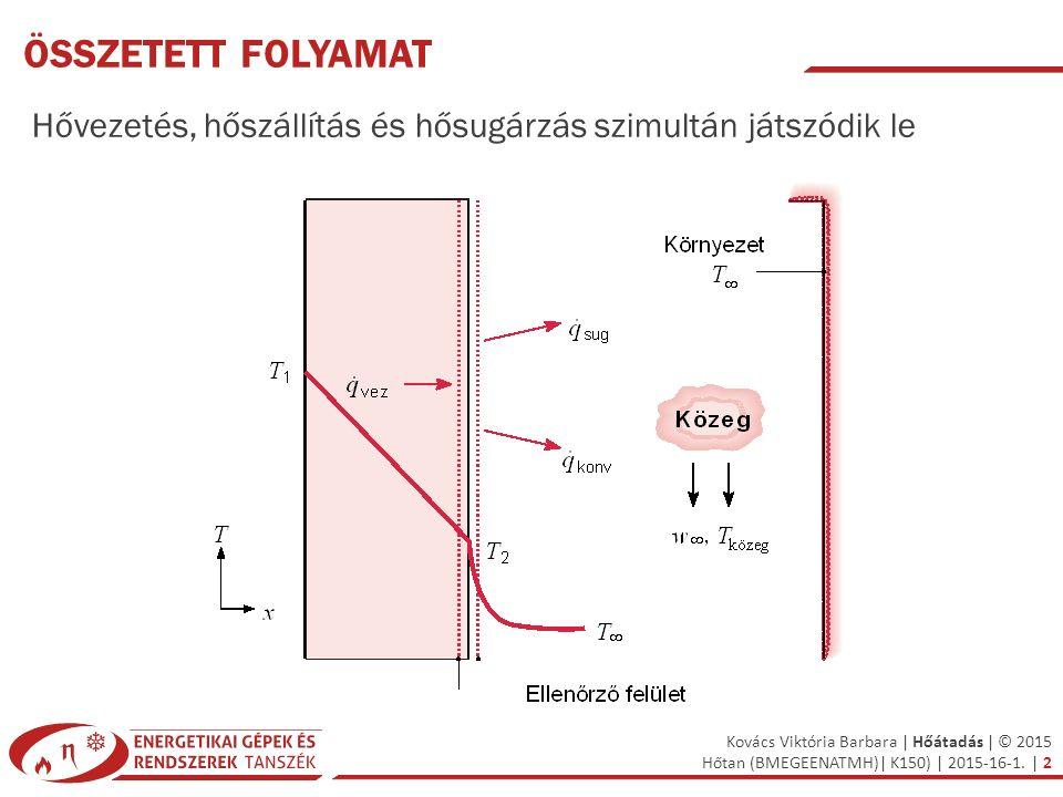 Összetett folyamat Hővezetés, hőszállítás és hősugárzás szimultán játszódik le