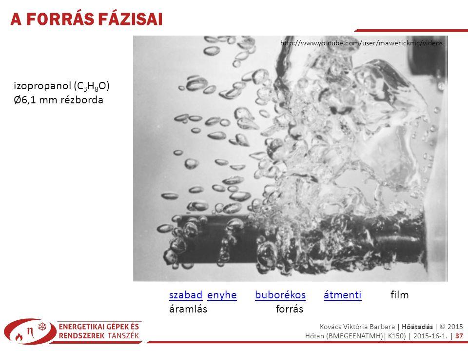 A forrás fázisai izopropanol (C3H8O) Ø6,1 mm rézborda