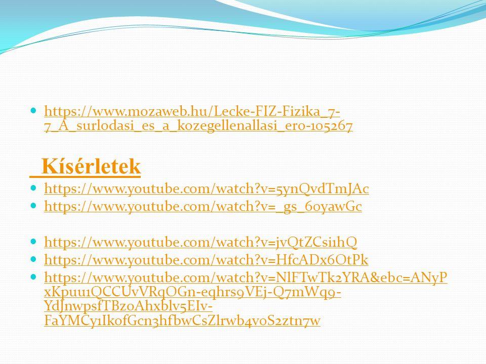 https://www.mozaweb.hu/Lecke-FIZ-Fizika_7-7_A_surlodasi_es_a_kozegellenallasi_ero-105267 Kísérletek.