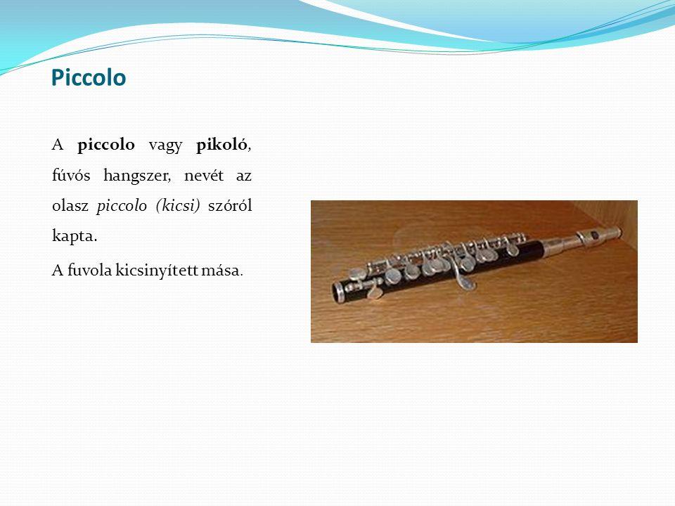 Piccolo A piccolo vagy pikoló, fúvós hangszer, nevét az olasz piccolo (kicsi) szóról kapta.