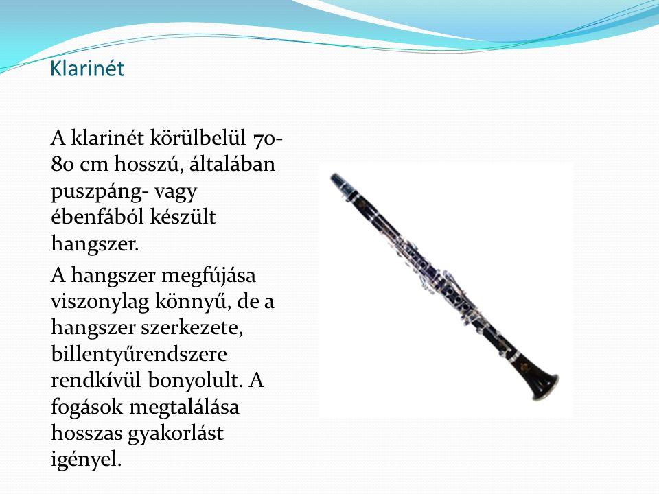 Klarinét A klarinét körülbelül 70-80 cm hosszú, általában puszpáng- vagy ébenfából készült hangszer.