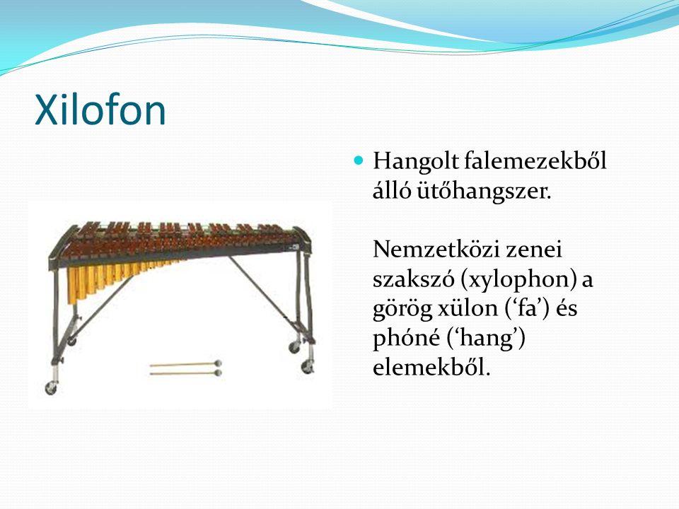 Xilofon Hangolt falemezekből álló ütőhangszer.