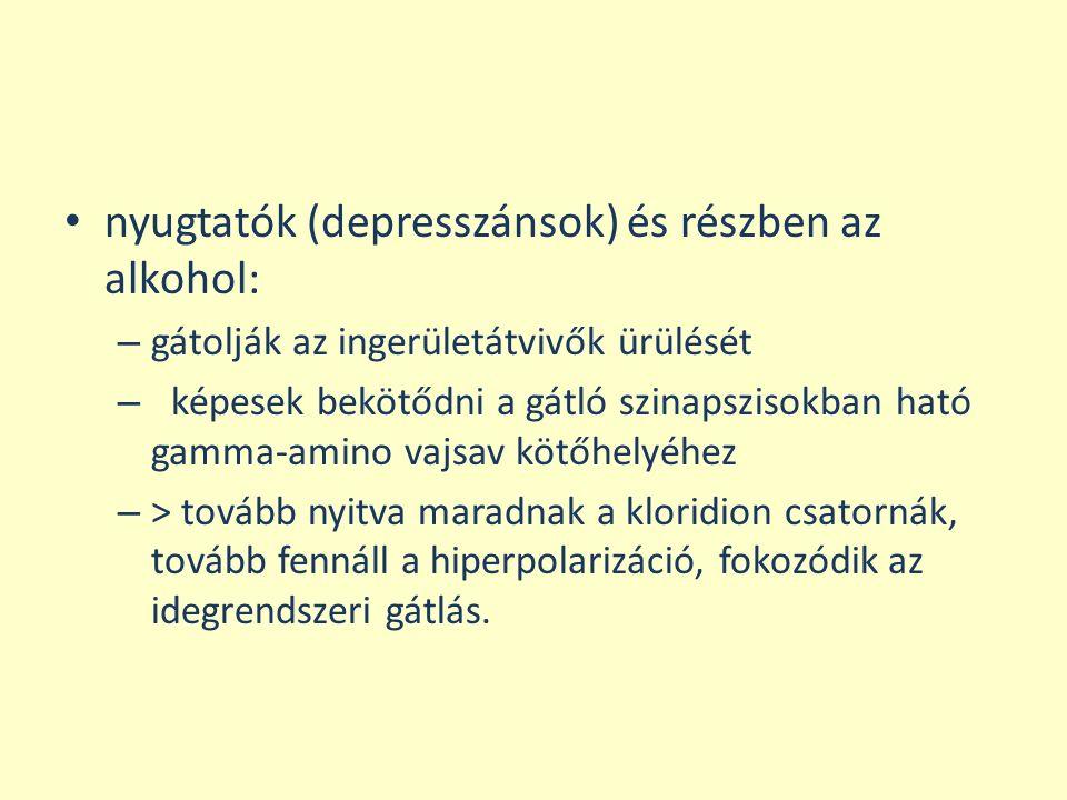 nyugtatók (depresszánsok) és részben az alkohol: