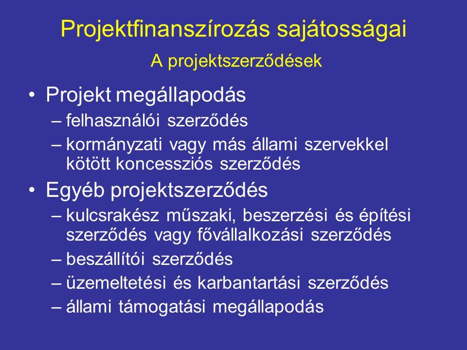 Projektfinanszírozás sajátosságai A projektszerződések