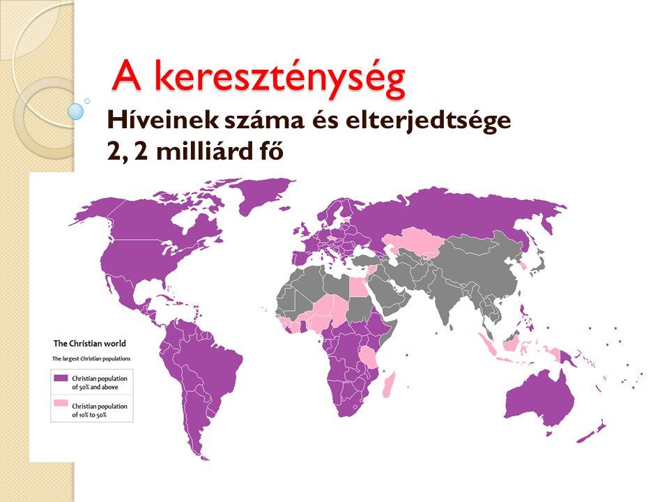 Híveinek száma és elterjedtsége 2, 2 milliárd fő