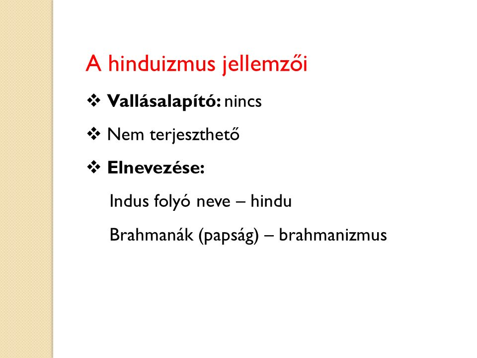 A hinduizmus jellemzői