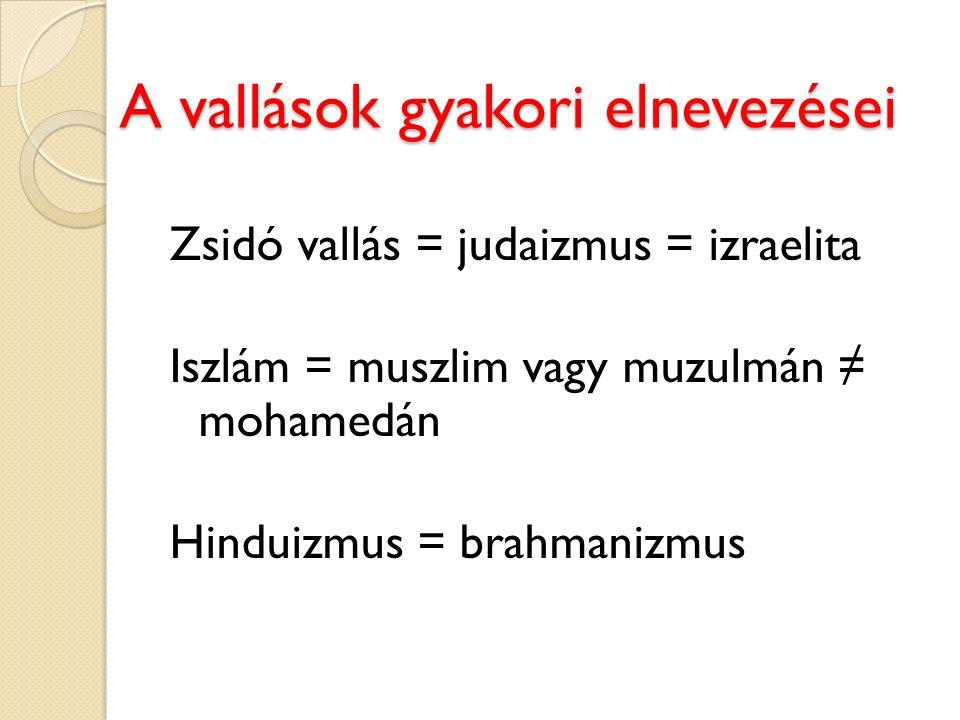 A vallások gyakori elnevezései