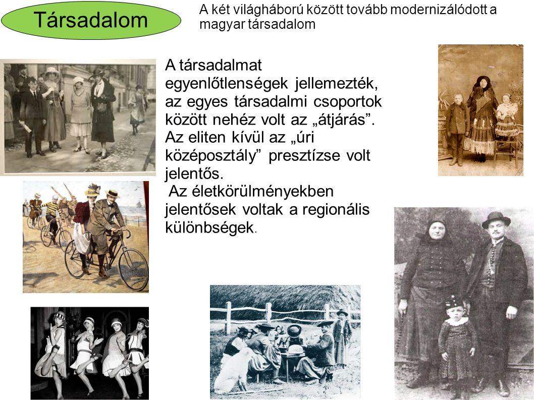 Társadalom A két világháború között tovább modernizálódott a magyar társadalom.
