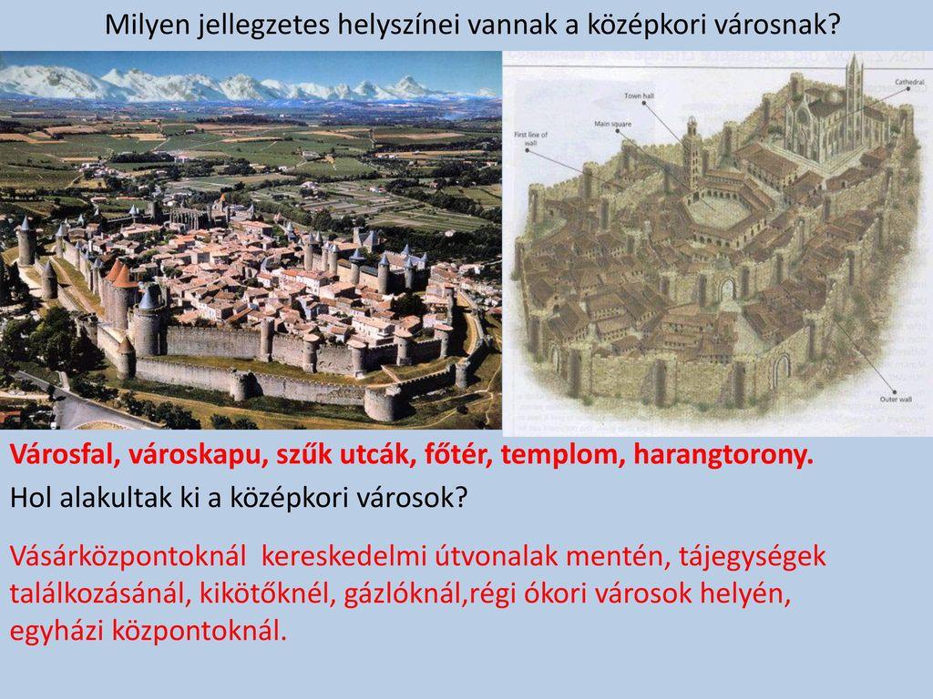 Milyen jellegzetes helyszínei vannak a középkori városnak