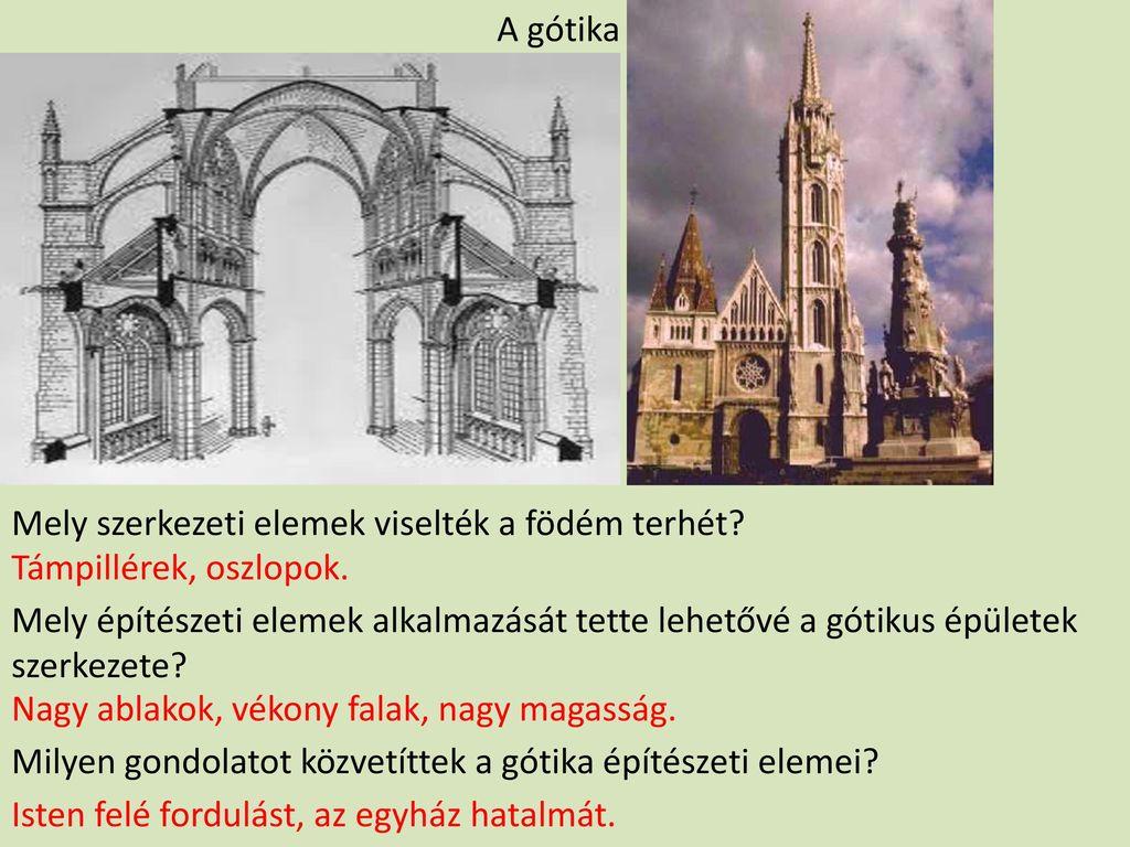 A gótika Mely szerkezeti elemek viselték a födém terhét Támpillérek, oszlopok.