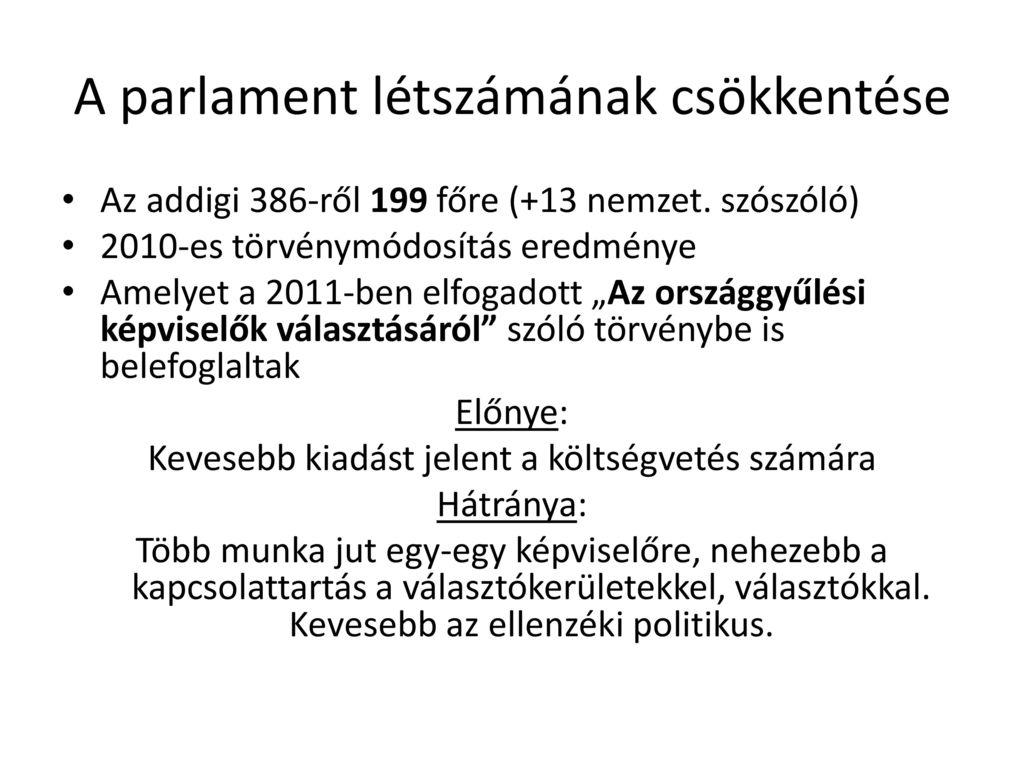 A parlament létszámának csökkentése