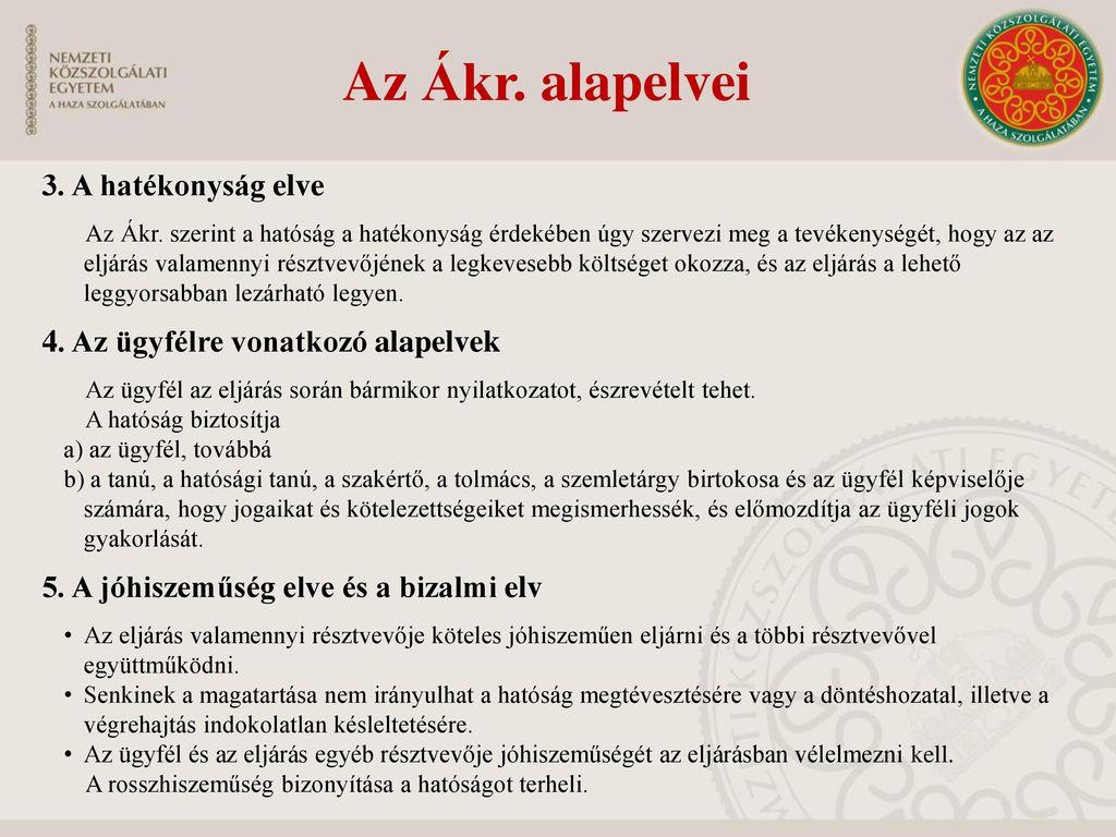 Az Ákr. alapelvei 3. A hatékonyság elve