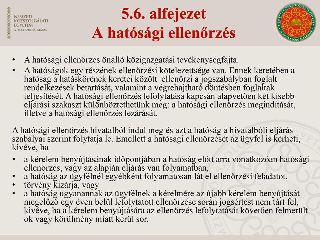5.6. alfejezet A hatósági ellenőrzés