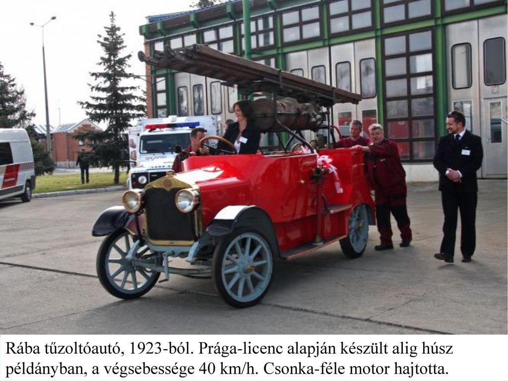 Rába tűzoltóautó, 1923-ból.