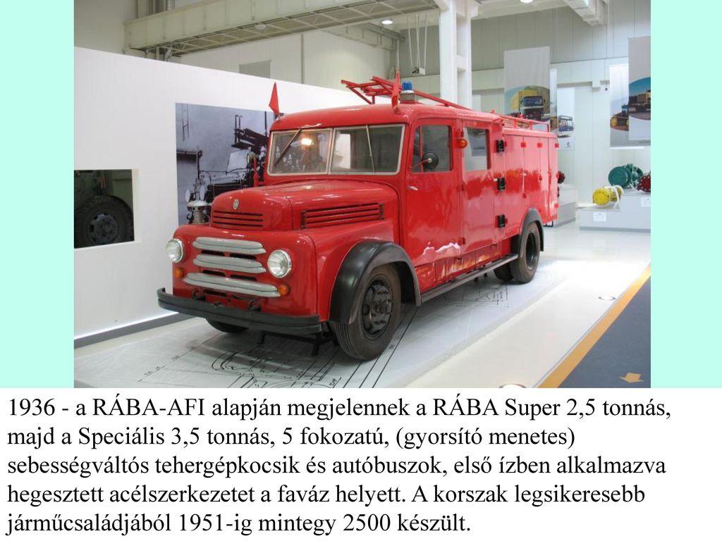 1936 - a RÁBA-AFI alapján megjelennek a RÁBA Super 2,5 tonnás, majd a Speciális 3,5 tonnás, 5 fokozatú, (gyorsító menetes) sebességváltós tehergépkocsik és autóbuszok, első ízben alkalmazva hegesztett acélszerkezetet a faváz helyett.
