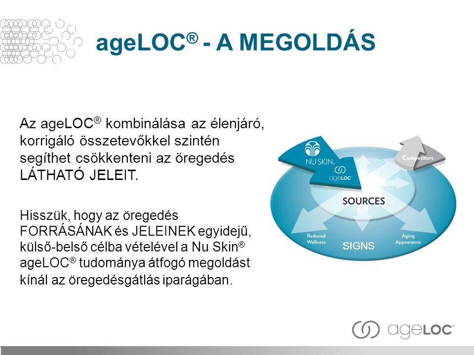 ageLOC® - A MEGOLDÁS Az ageLOC® kombinálása az élenjáró, korrigáló összetevőkkel szintén segíthet csökkenteni az öregedés LÁTHATÓ JELEIT.
