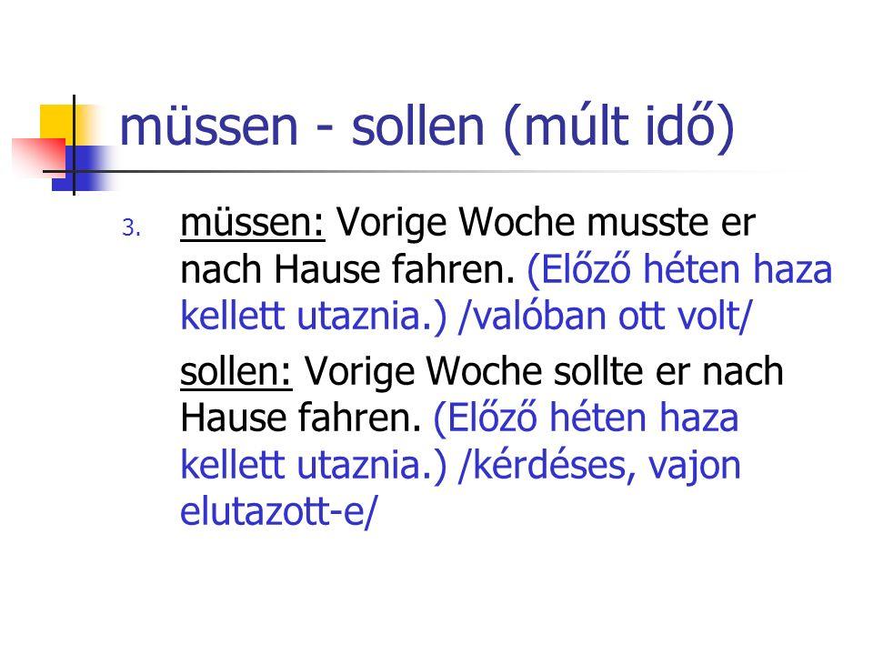 müssen - sollen (múlt idő)