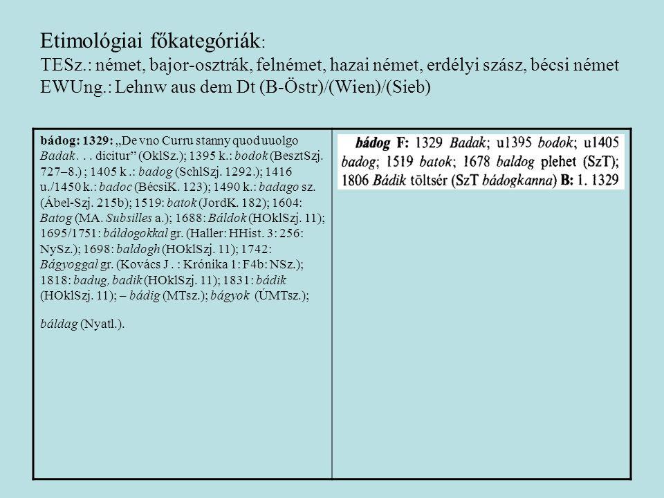 Etimológiai főkategóriák: TESz