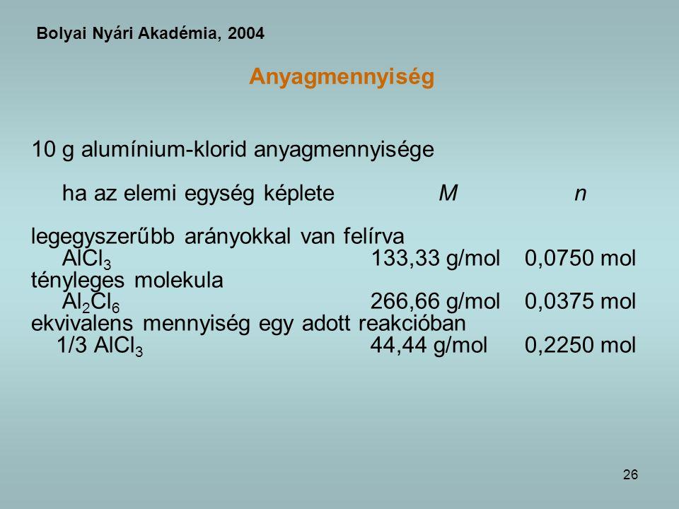 10 g alumínium-klorid anyagmennyisége ha az elemi egység képlete M n