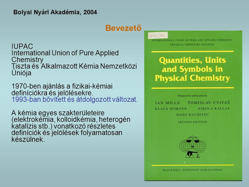 Bevezető IUPAC International Union of Pure Applied Chemistry