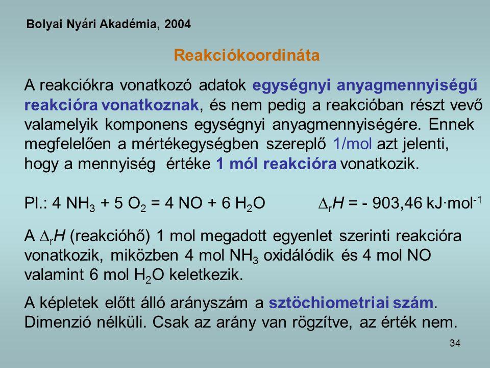 Pl.: 4 NH3 + 5 O2 = 4 NO + 6 H2O rH = - 903,46 kJ·mol-1