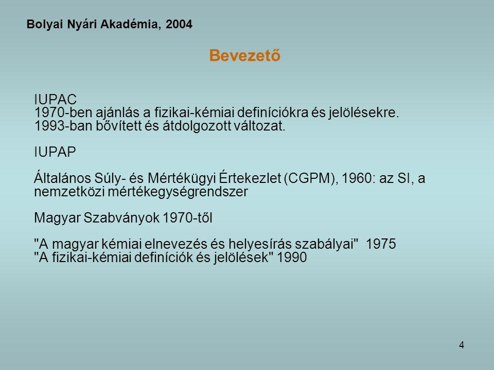 Bolyai Nyári Akadémia, 2004 Bevezető. IUPAC. 1970-ben ajánlás a fizikai-kémiai definíciókra és jelölésekre.