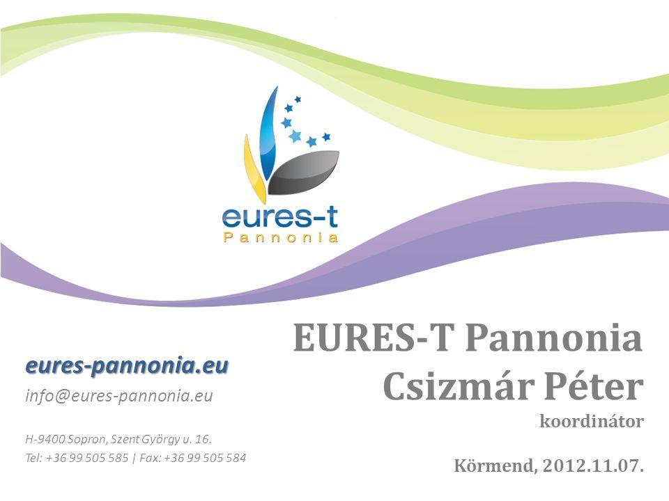 EURES-T Pannonia Csizmár Péter koordinátor Körmend, 2012.11.07.