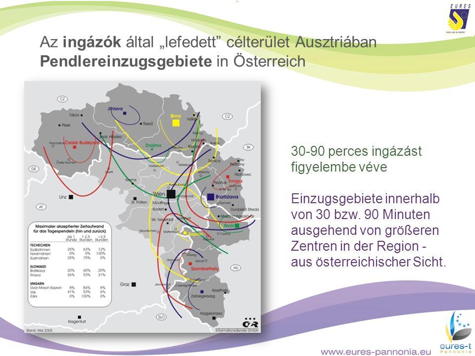 """Az ingázók által """"lefedett célterület Ausztriában Pendlereinzugsgebiete in Österreich"""