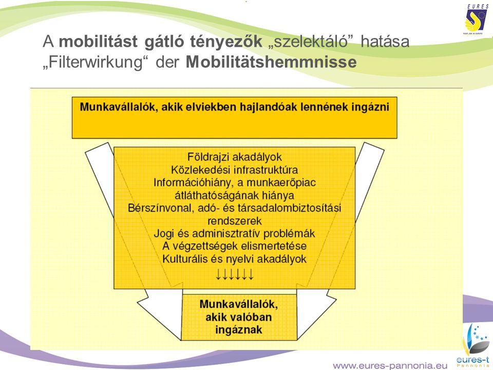 """A mobilitást gátló tényezők """"szelektáló hatása """"Filterwirkung der Mobilitätshemmnisse"""