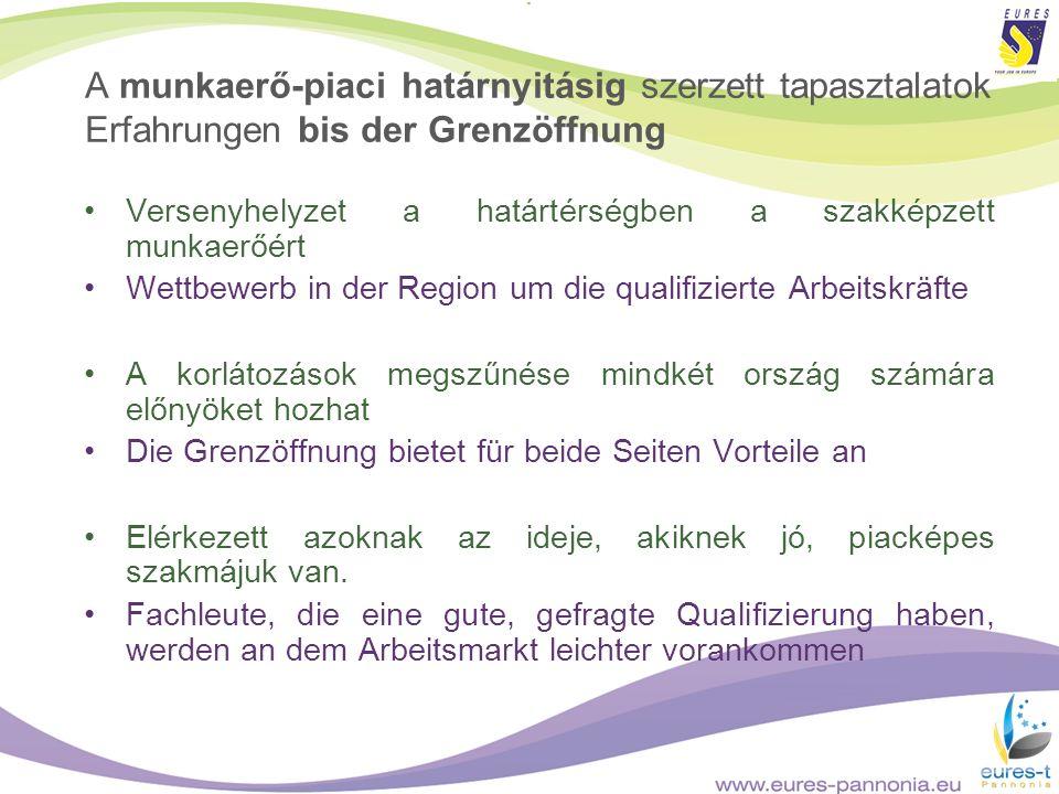 A munkaerő-piaci határnyitásig szerzett tapasztalatok Erfahrungen bis der Grenzöffnung