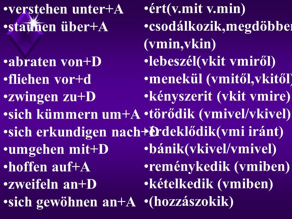 verstehen unter+A staunen über+A. abraten von+D. fliehen vor+d. zwingen zu+D. sich kümmern um+A.