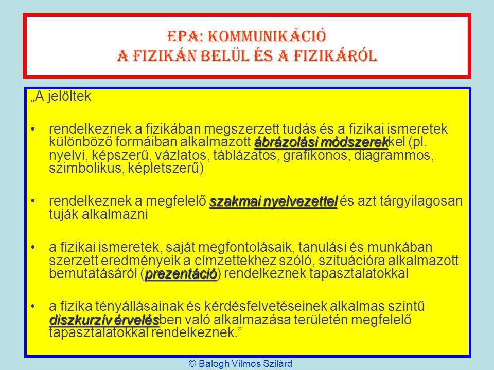 EPA: kommunikáció A fizikán belül és a fizikáról