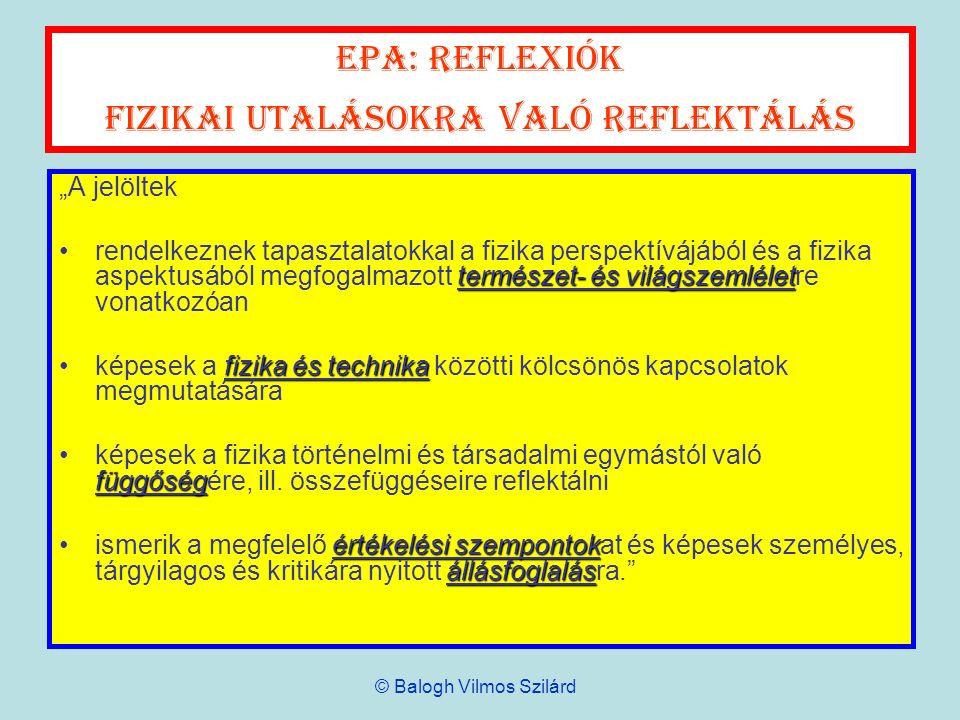 EPA: reflexiók Fizikai utalásokra való reflektálás
