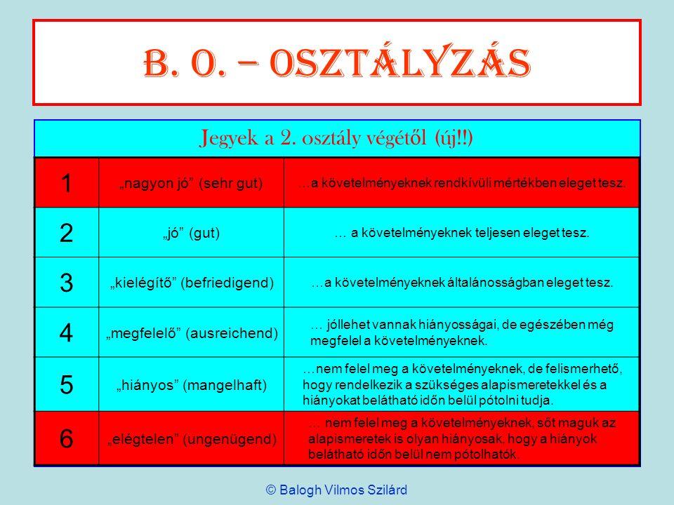 B. o. – Osztályzás 1 2 3 4 5 6 Jegyek a 2. osztály végétől (új!!)