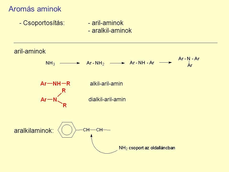 Aromás aminok - Csoportosítás: - aril-aminok - aralkil-aminok