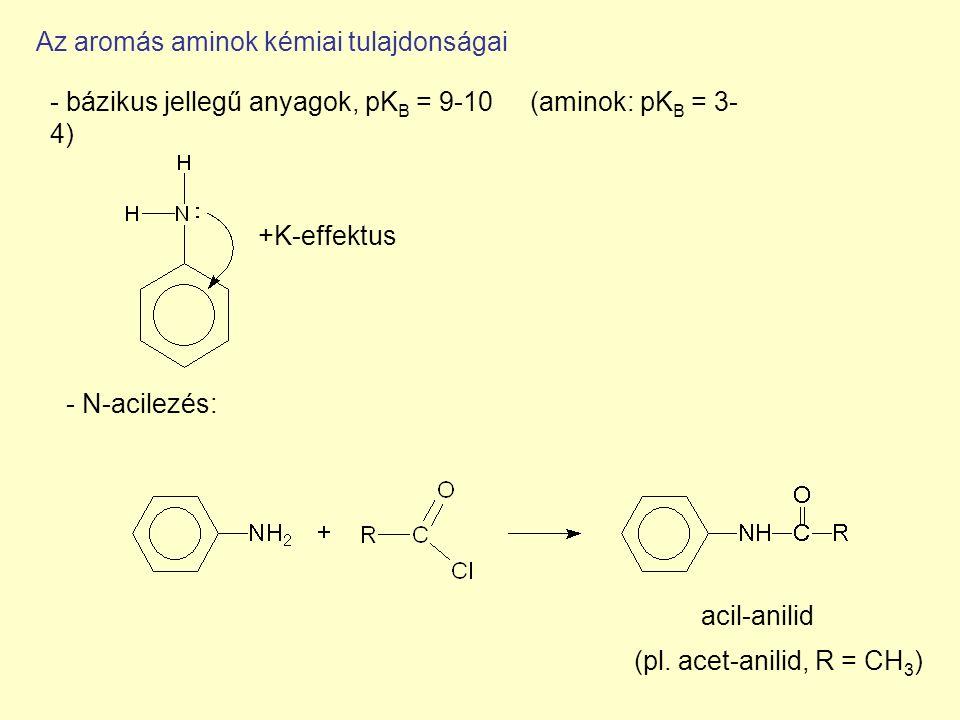 Az aromás aminok kémiai tulajdonságai