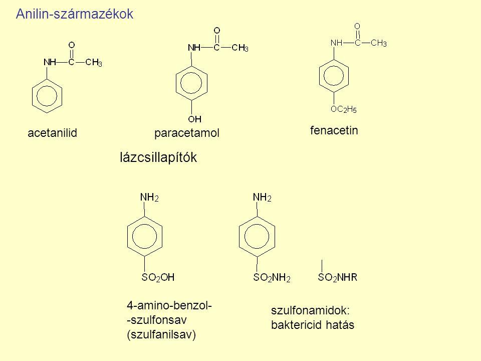 Anilin-származékok lázcsillapítók acetanilid paracetamol fenacetin