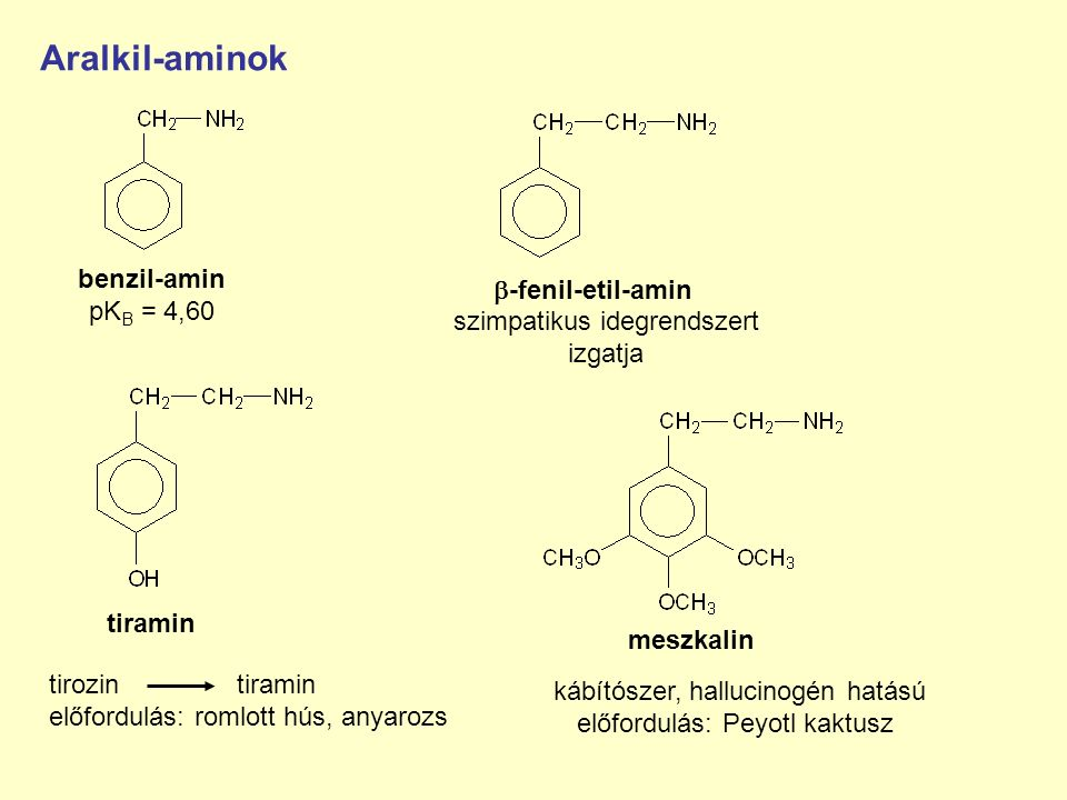 Aralkil-aminok benzil-amin -fenil-etil-amin pKB = 4,60