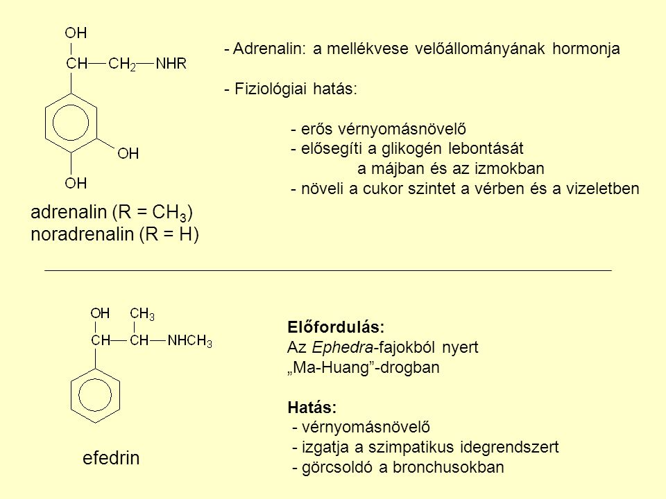 adrenalin (R = CH3) noradrenalin (R = H) efedrin