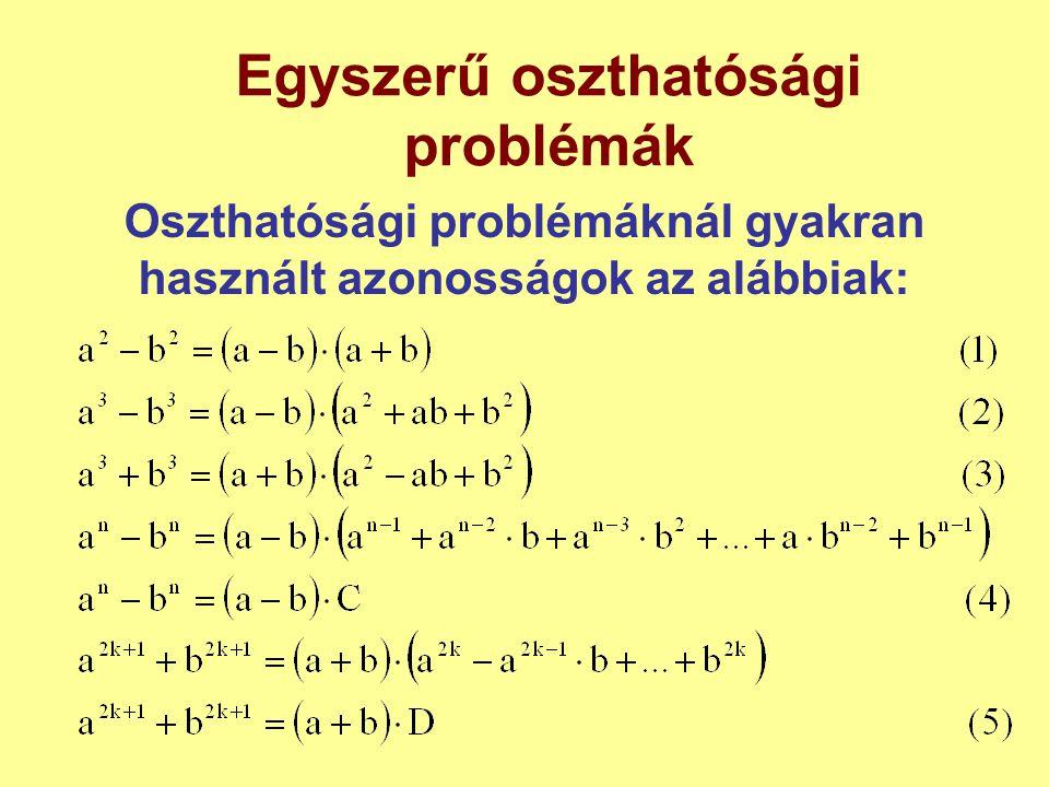 Egyszerű oszthatósági problémák