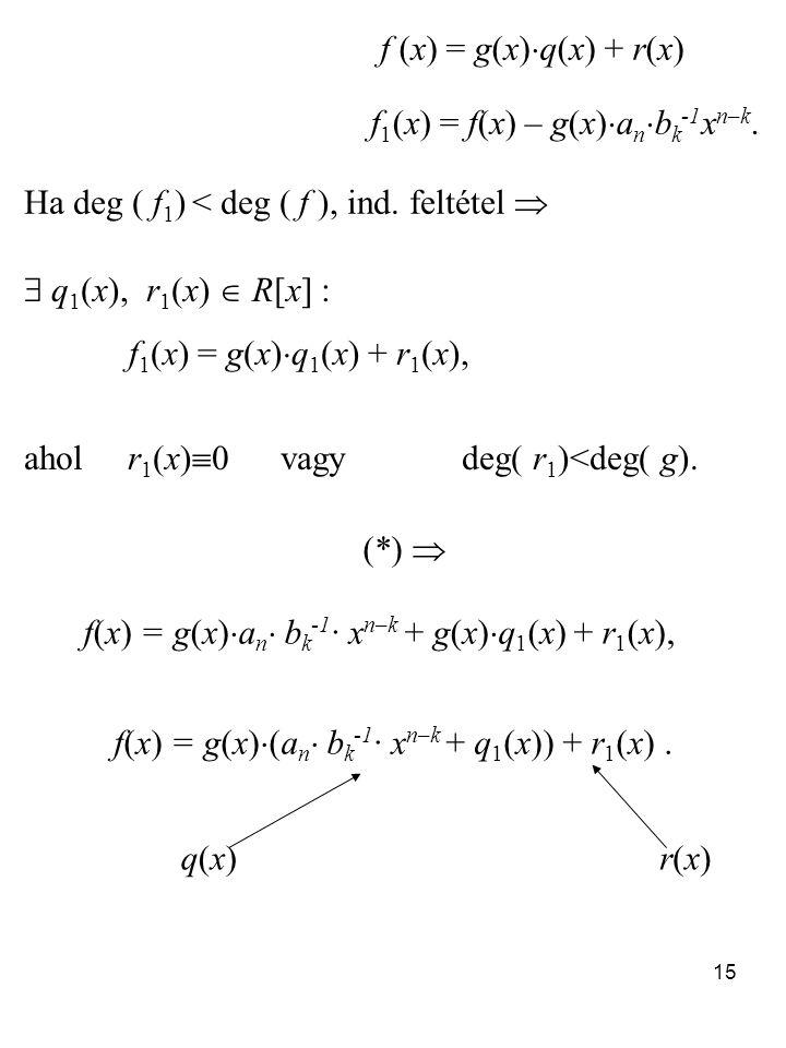 f1(x) = f(x) – g(x)anbk-1xn–k.