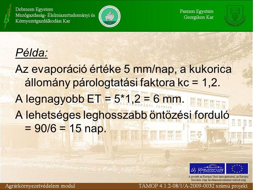 Példa: Az evaporáció értéke 5 mm/nap, a kukorica állomány párologtatási faktora kc = 1,2. A legnagyobb ET = 5*1,2 = 6 mm.