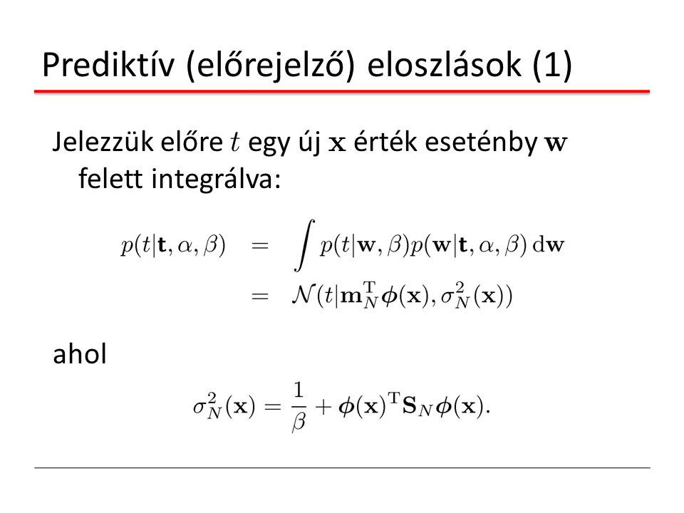 Prediktív (előrejelző) eloszlások (1)