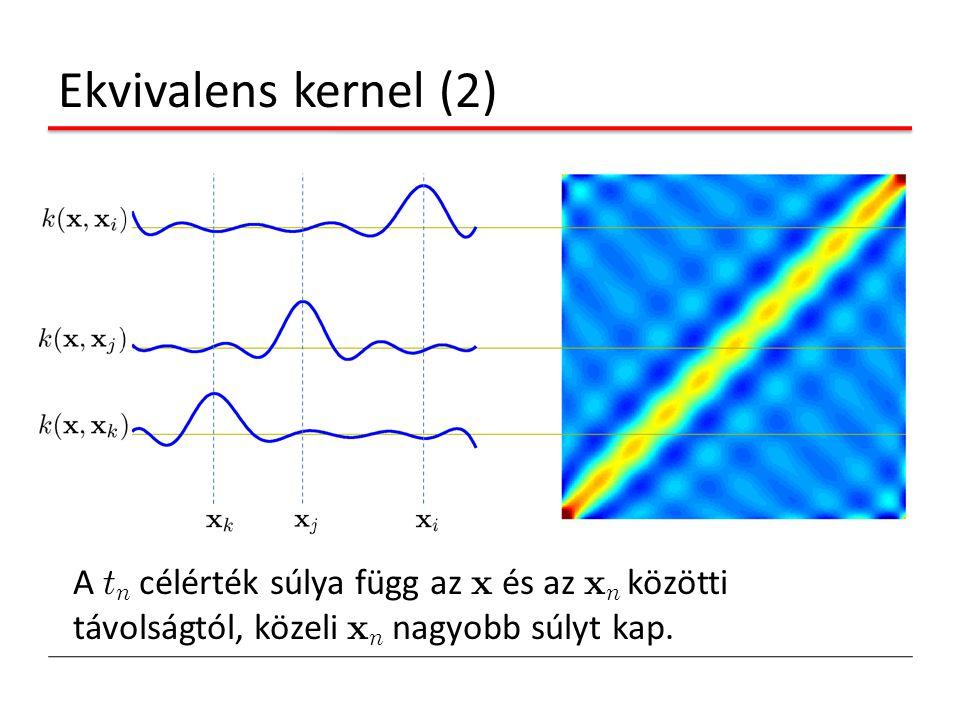 Ekvivalens kernel (2) A tn célérték súlya függ az x és az xn közötti távolságtól, közeli xn nagyobb súlyt kap.