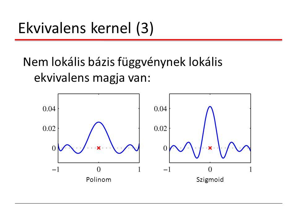 Ekvivalens kernel (3) Nem lokális bázis függvénynek lokális ekvivalens magja van: Polinom Szigmoid